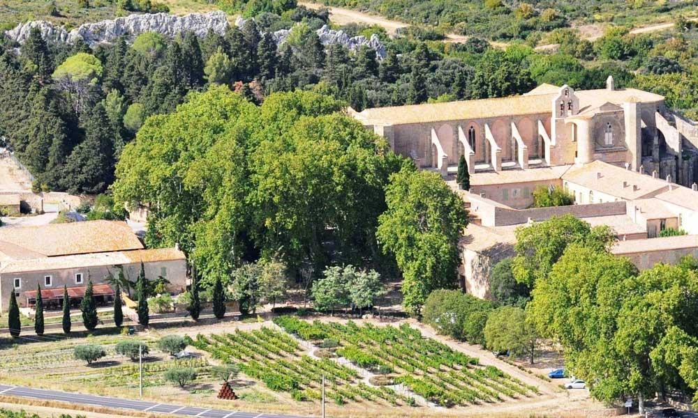 Vue aérienne de l'abbaye de Valmagne à Villeveyrac - © OT Archipel de Thau Méditerranée